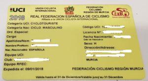 Licencia federativa de la Federación de Ciclismo de la Región de Murcia