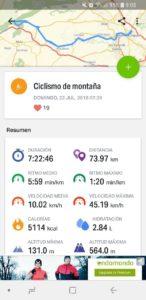 App Endomondo en móvil Android por Comunidad Biker MTB