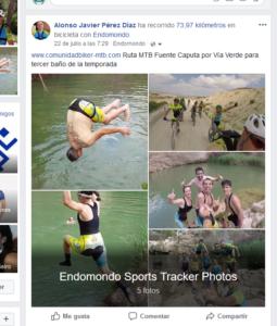 Ejemplo de actividad compartida en Facebook desde Endomondo