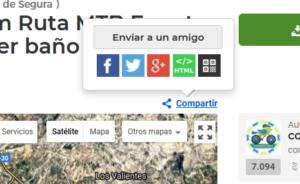 Compartir ruta en redes sociales desde Wikiloc