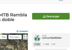 Botón descargar ruta en Wikiloc web