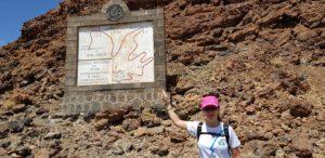 Cartel del mapa del ascenso a la Montaña Blanca en el Teide Tenerife por Comunidad Biker MTB