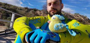 Peperoto tridimensional de ganchillo tomando el sol por Comunidad Biker MTB